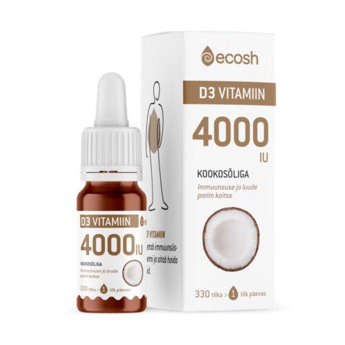 Vitamiin D3 kookosõliga 4000 IU Ecosh 10 ml
