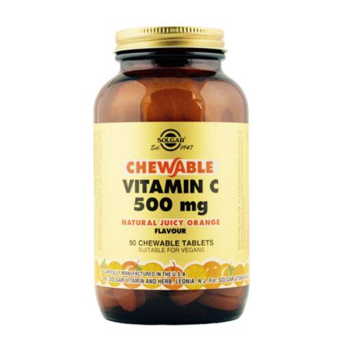 C vitamiini närimistabletid 500 mg Apelsin Solgar 90 tabl