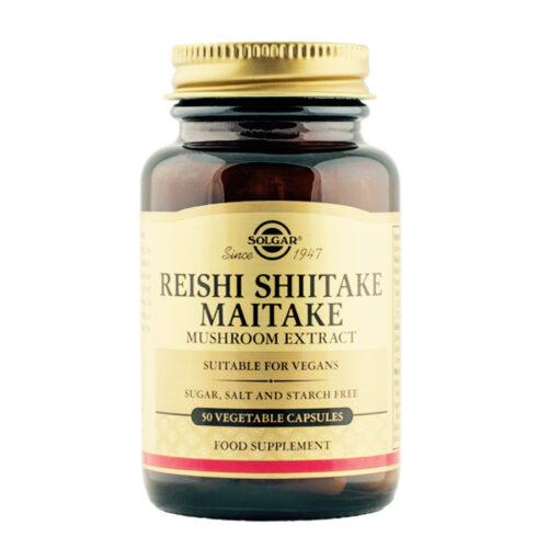 Reishi, shiitake, ja maitake seente ekstrakt Solgar 50 kapslit