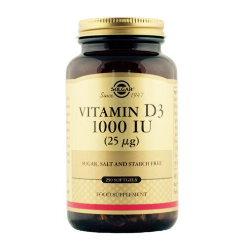 Vitamiin D3 kolekaltsiferool 1000 IU Solgar 250 kapslit