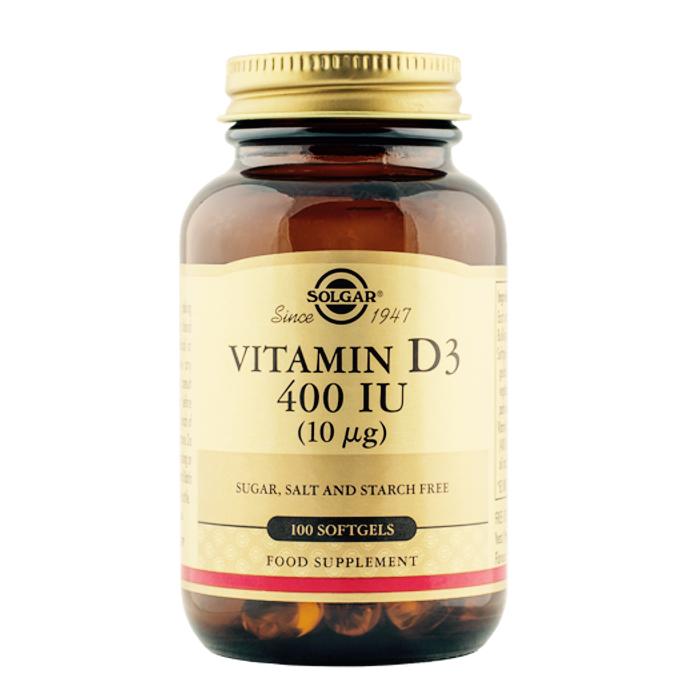 Vitamiin D3 kolekaltsiferool 400 IU Solgar 100 kapslit